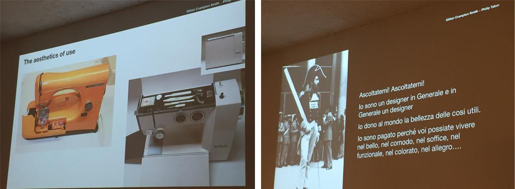 Ux talk: A sinistra la macchina da cucire Mirella della Necchi disegnata da Marcello Nizzoli, Premio Compasso d'Oro. A destra la performance di Michele De Lucchi nel 1973 davanti alla Triennale di MIlano.