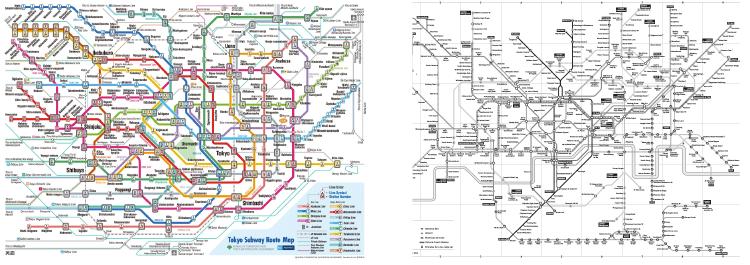Mappe di metropolitane: a) Tokyo b) Londra, versione accessibile