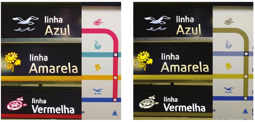 Segnaletica della metropolitana di Lisbona: a) visione normale b) deuteranopia