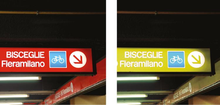 Segnaletica della linea 1 di Milano: a) visione normale b) deuteranopia